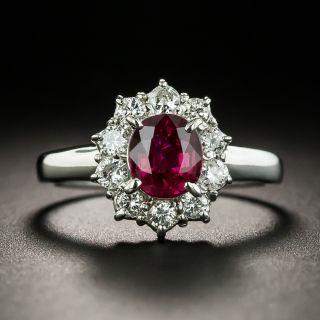 Estate 1.08 Carat Natural No-Heat Ruby and Diamond Halo Ring - 1