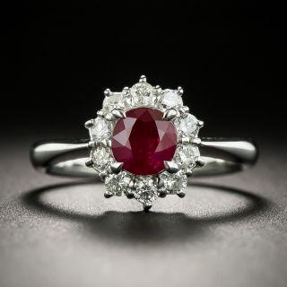 Estate 1.09 Carat Ruby and Diamond Halo Ring - 2