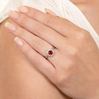 Estate 1.09 Carat Ruby and Diamond Halo Ring