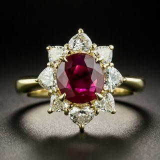 Estate 1.13 Carat Burmese Ruby and Heart-Shaped Diamond Ring - 1