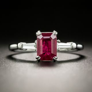 Estate 1.13 Carat Emerald-Cut Burmese Ruby and Diamond Ring - 1