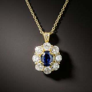 Estate 1.13 Carat No-Heat Sapphire and Diamond Halo Pendant - 0