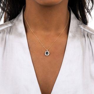 Estate 1.13 Carat No-Heat Sapphire and Diamond Halo Pendant