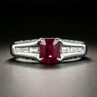 Estate 1.14 Carat Emerald-Cut Burmese Ruby and Diamond Ring - 1