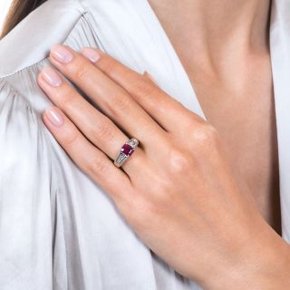 Estate 1.14 Carat Emerald-Cut Burmese Ruby and Diamond Ring