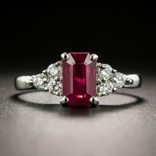 Estate 1.16 Carat Emerald-Cut Burmese Ruby and Diamond Ring  - 1