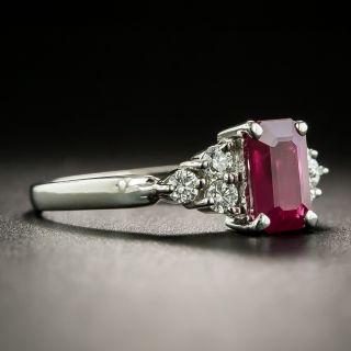 Estate 1.16 Carat Emerald-Cut Burmese Ruby and Diamond Ring