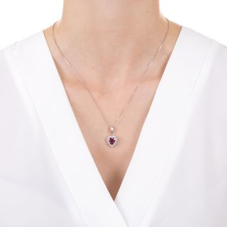 Estate 1.16 Carat Heart Shaped Ruby and Diamond Necklace