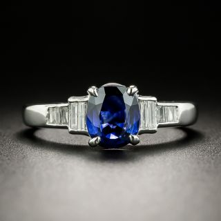 Estate Sapphire and Baguette Diamond Ring - 2