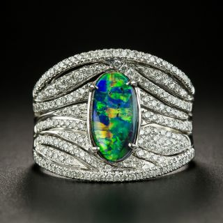 Estate 1.18 Carat Black Opal and Diamond Wide Band Ring - 3