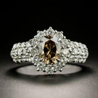 Estate 1.18 Carat Fancy Dark Yellowish Brown Oval-Cut Diamond Ring - GIA - 3