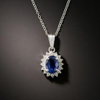 Estate 1.19 Carat Sapphire and Diamond Halo Pendant - 1