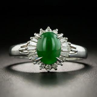 Estate 1.22 Carat Burmese Jadeite and Diamond Ring - 1
