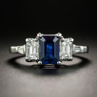 Estate 1.25 Carat Emerald-Cut Sapphire Platinum Diamond Ring  - 1