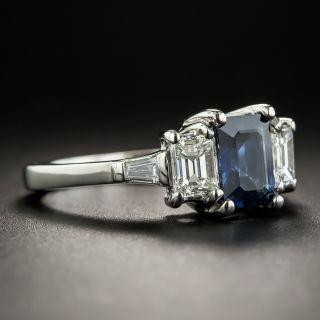 Estate 1.25 Carat Emerald-Cut Sapphire Platinum Diamond Ring