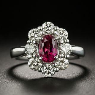 Estate 1.25 Carat Ruby and Diamond Halo Ring - 3