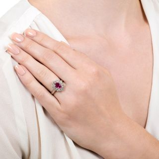 Estate 1.25 Carat Ruby and Diamond Halo Ring
