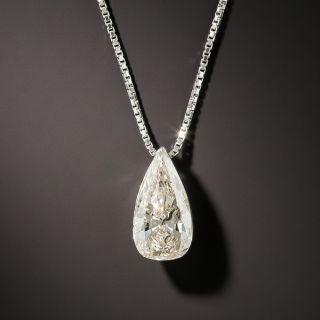 Estate 1.26 Carat Pear Shaped Diamond Platinum Drop - 3