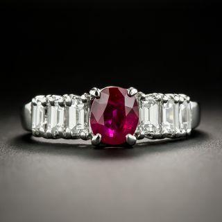 Estate 1.26 Carat Pigeon Blood Burmese Ruby and Diamond Ring - 3
