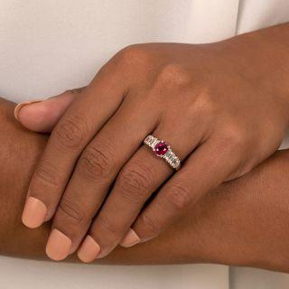 Estate 1.26 Carat Pigeon Blood Burmese Ruby and Diamond Ring