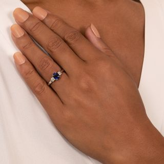 Estate 1.27 Carat Ceylon Sapphire and Diamond Ring