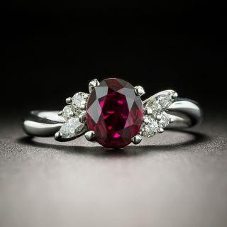 Estate 1.28 Carat Ruby and Diamond Ring - GIA - 2
