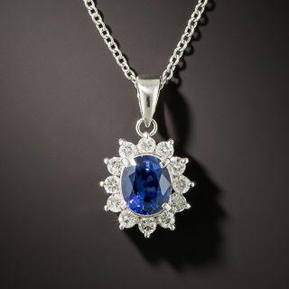Estate 1.28 Carat Sapphire and Diamond Halo Drop Necklace - 3