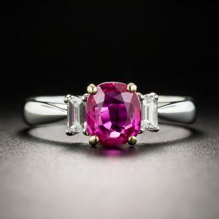 Estate 1.29 Carat Oval Burma Ruby and Diamond Ring - 1