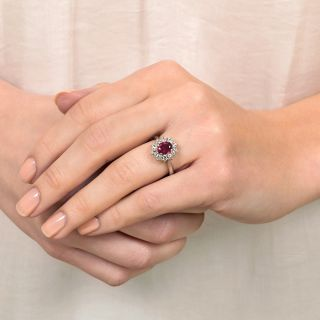 Estate 1.30 Carat Thai Ruby and Diamond Halo Ring