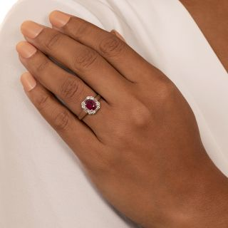 Estate 1.31 Carat No-Heat Burmese Ruby and Diamond Ring