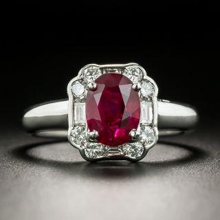 Estate 1.31 Carat No-Heat Burma Ruby Platinum Diamond Ring - 2