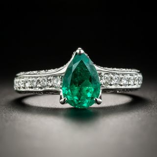 Estate 1.38 Carat Pear-Cut Emerald and Diamond Ring - 1
