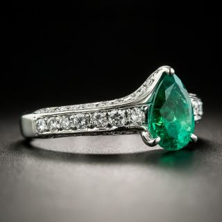 Estate 1.38 Carat Pear-Cut Emerald and Diamond Ring
