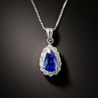 Estate 1.39 Carat Pear Shaped Sapphire and Diamond Halo Pendant - 3