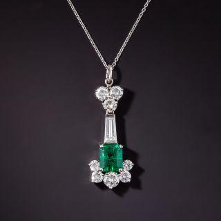 Estate 1.43 Carat Emerald and Diamond Pendant - 2