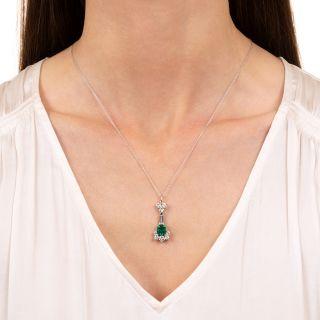 Estate 1.43 Carat Emerald and Diamond Pendant