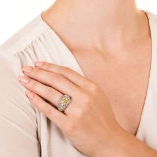 Estate 1.43 Carat Natural Fancy Intense Yellow Diamond Ring - GIA
