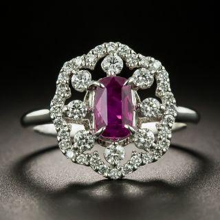Estate 1.43 Carat No-Heat Ceylon Ruby and Diamond Ring - GIA - 2
