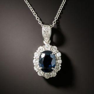 Estate 1.47 Carat No-Heat Sapphire and Diamond Halo Pendant - 2