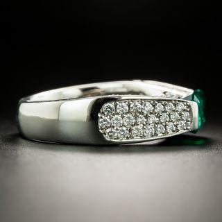 Estate 1.48 Carat Emerald Platinum Diamond Ring