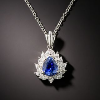Estate 1.48 Carat Pear-Shaped Sapphire in Marquise and Round Diamond Halo Necklace - 1