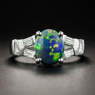 Estate 1.49 Carat Black Opal Cabochon and Diamond Ring - 1