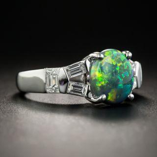 Estate 1.49 Carat Black Opal Cabochon and Diamond Ring