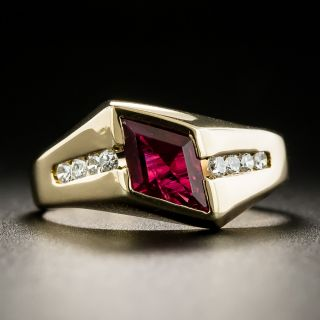 Estate Kite Shaped-Ruby and Diamond Ring - 3