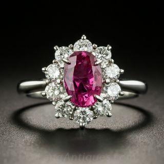 Estate 1.53 Carat No-Heat Pink Sapphire and Diamond Ring - GIA  - 2