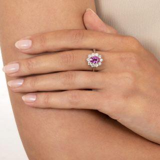 Estate 1.53 Carat No-Heat Pink Sapphire and Diamond Ring - GIA