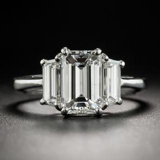 Estate 1.57 Carat Emerald-Cut Diamond Platinum Ring - GIA F SI1 - 2
