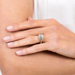 Estate 1.57 Carat Emerald-Cut Diamond Platinum Ring - GIA F SI1