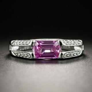 Estate 1.57 Carat Pink Emerald-Cut Sapphire and Diamond Ring - 2