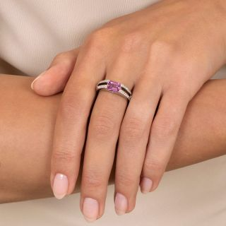Estate 1.57 Carat Pink Emerald-Cut Sapphire and Diamond Ring